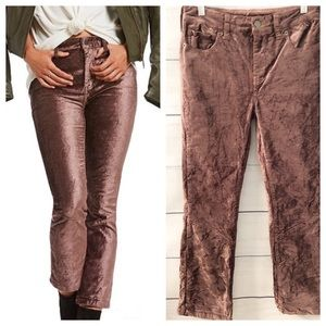 Free People Crushed Velvet Cropped Flare Pants NWT